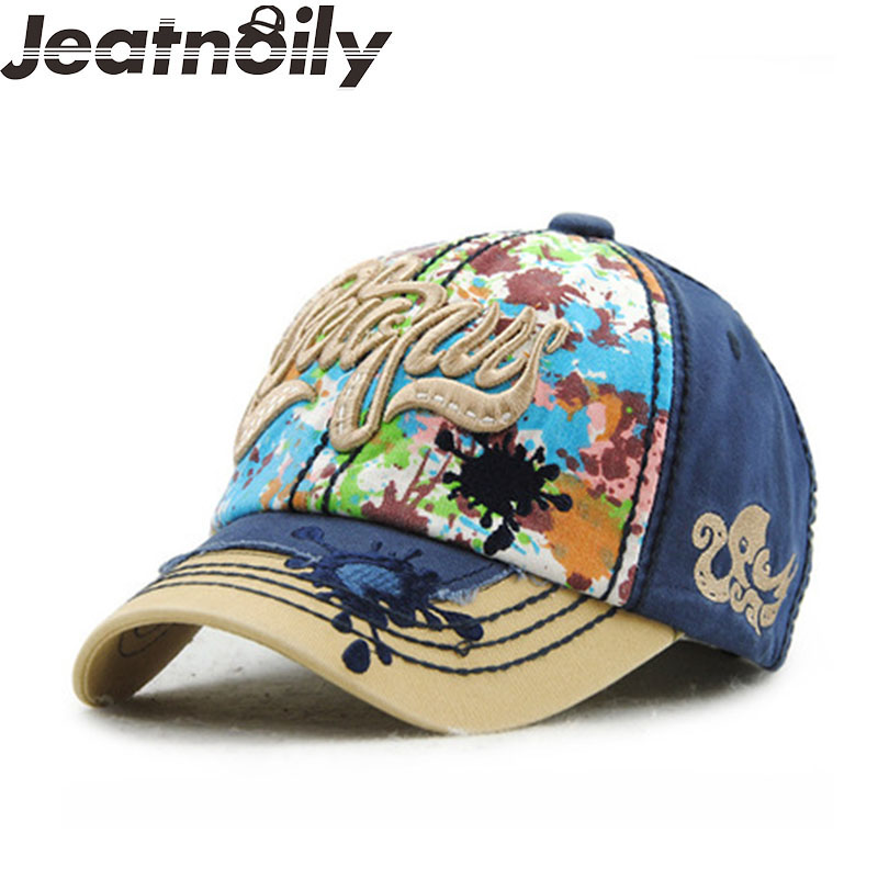 Fashione Cotton  Adjustable baseball cap Snapback washed hat for women Floral Graffiti denim Letter  caps with 3D embroidery newly design i came to break hearts embroidery letter boy hiphop hat adjustable baseball cap 160513