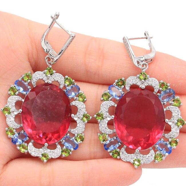 Colorful Tourmaline,Peridot,Violet Tanzanite CZ Silver Earrings 53x32mmColorful Tourmaline,Peridot,Violet Tanzanite CZ Silver Earrings 53x32mm