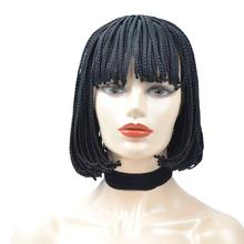 Short Synthetic Bob Wigs With Bangs Braided Box Braids For Black Women African Natural Heat Resistant