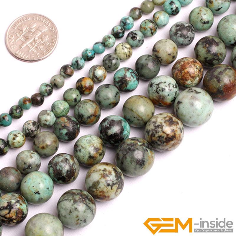 """Naturel Vert Afrique Turquoises Pierre Perles Rondes Pour La Fabrication de Bijoux Strand 15 """"DIY Bracelet Collier Bijoux Perles Lâches"""