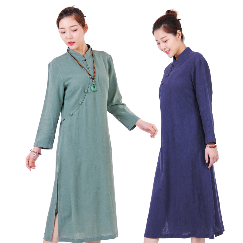 Buddhist Monk Robes Clothing Costume Clothes For Female Women Shaolin Monk Robes Zen Meditation Clothing Zestawy Sztuk Walki