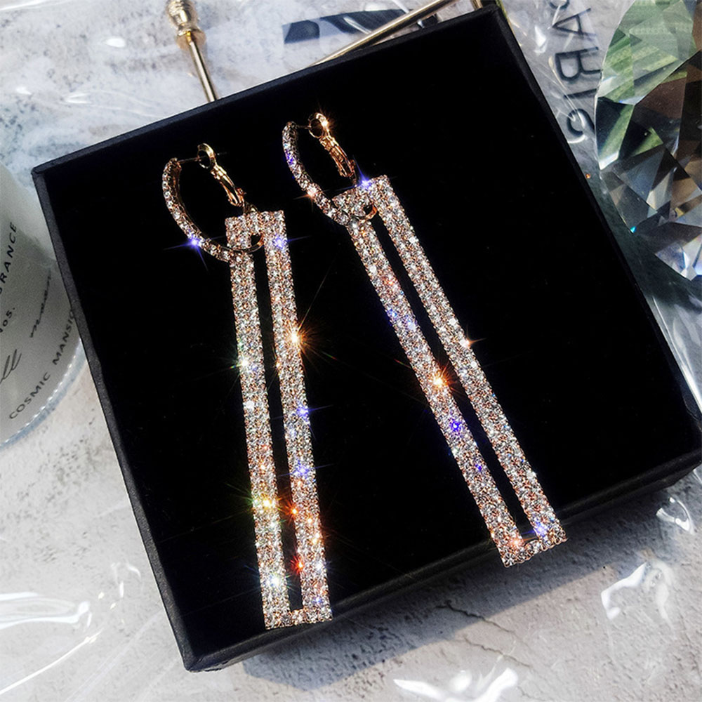 Iparam moda longo geométrico gota brincos de luxo ouro prata cor retângulo strass brinco para festa feminino jóias presente