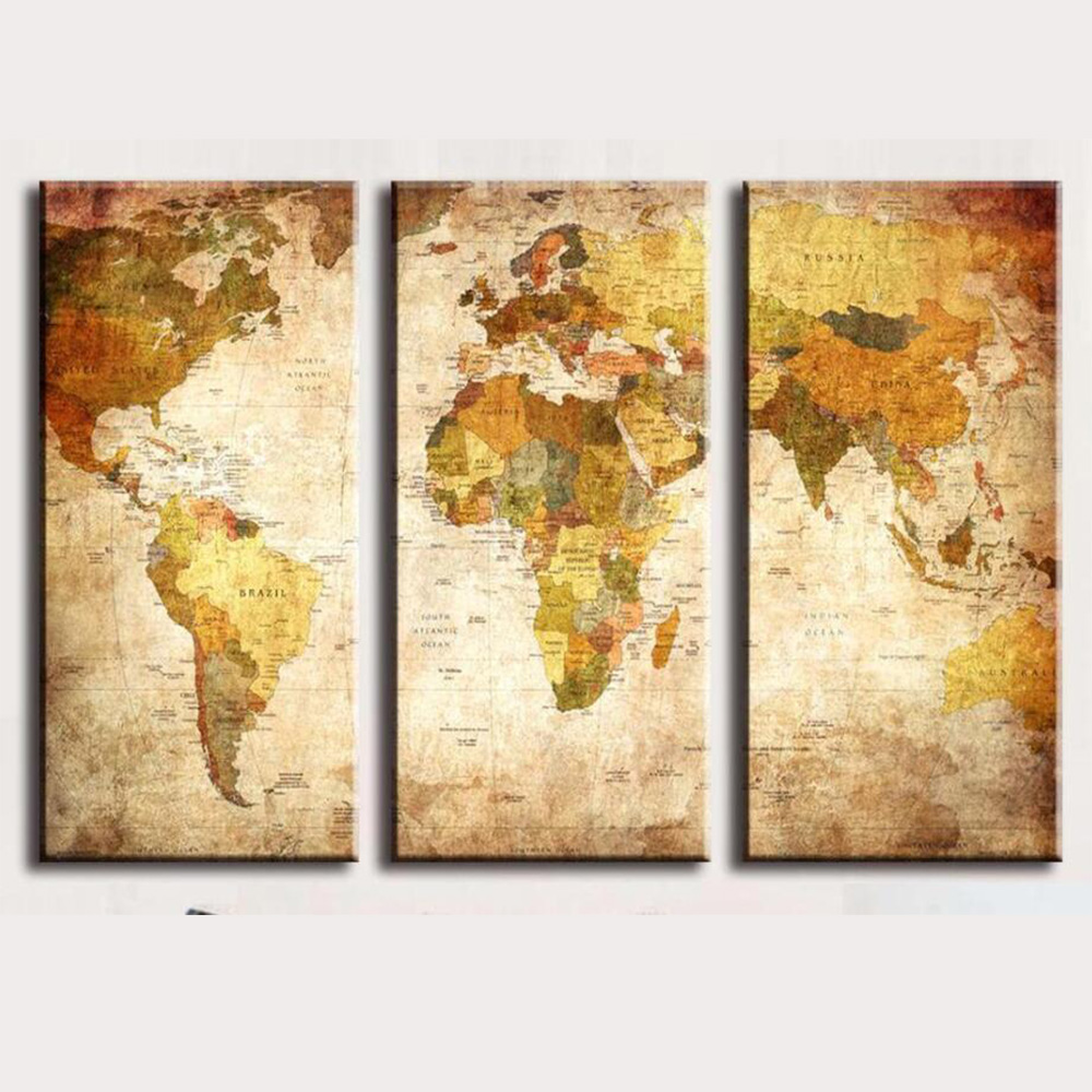 3 Panels Vintage World Map Canvas Painting HD Oil Painting On Canvas ...