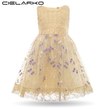 Cielarko Baby Girl Sequins Dress Kids Butterfly Dot Embroidery Fancy Dresses Child Print Wedding Party Lace Dress Vestidos