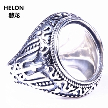 Vintage 925 Sterling Silver Men Ring Semi Mount Förlovning Wedding Party Ring 16x16mm Round Cabochon Amber Turkos DIY Stone