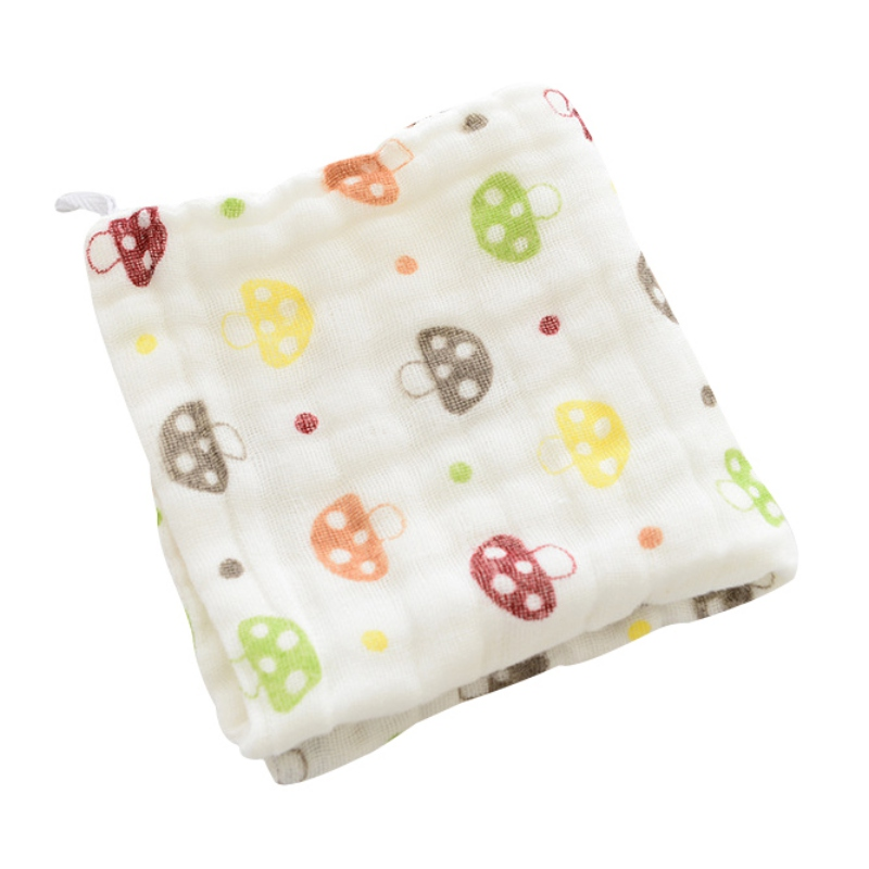 Baby Muslin Blanket Baby Towel Baby Six-Layer Gauze Cartoon Printing Children Cotton Small Handkerchief Children Wash Hand Towel
