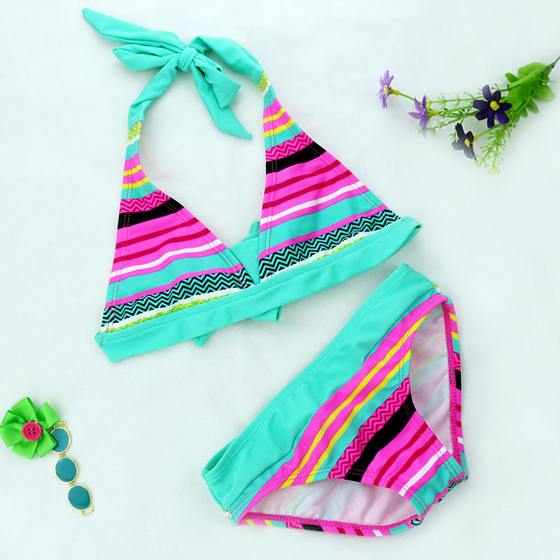 2018 New Summer girls Close-fitting elastic striped swimsuit girls split Two-pieces Swimwear, children strip bikini borong