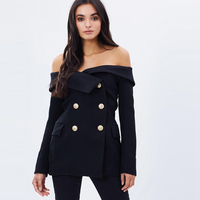 Black long sleeve slim fit fold over off the shoulder blazers for women ladies sexy slash neck double breasted coats outwear