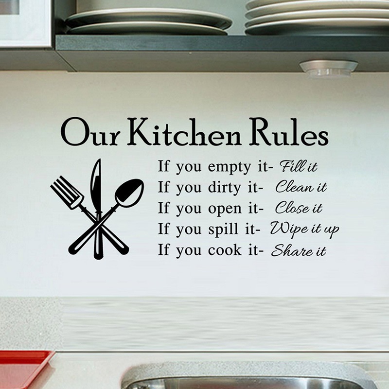 Kitchen rules living room kitchen vinyl wall stickers for for Our life in the kitchen