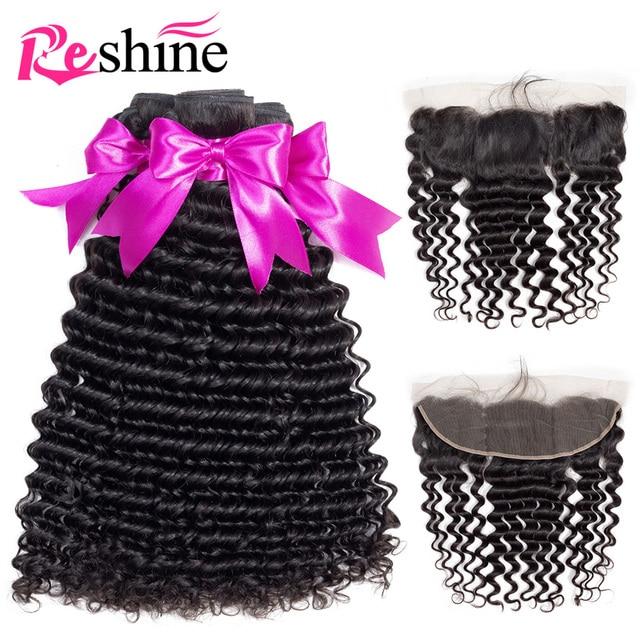Pelo brasileño de la onda profunda paquetes con Frontal 3 piezas Reshine 100% paquetes de cabello humano con cierre Frontal cabello no Remy extensión