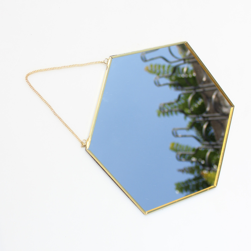 Hanging Geometric Brass Hexagonal Mirror Background Wall Golden Bathroom Entrance Makeup