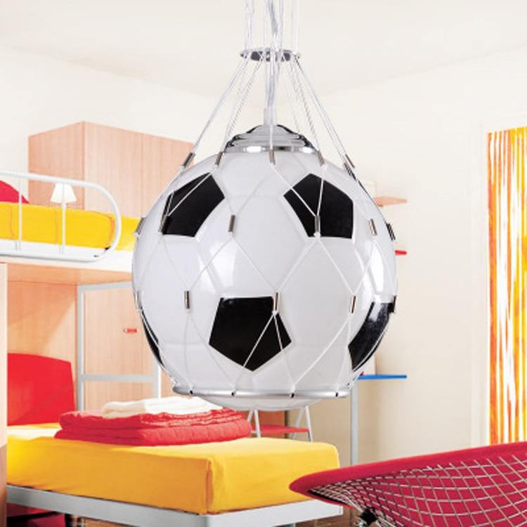 Free shipping Foottball lamp soccer ball light pendant lamp children room glass hanging light kids Christmas Gifts boy's present - 2