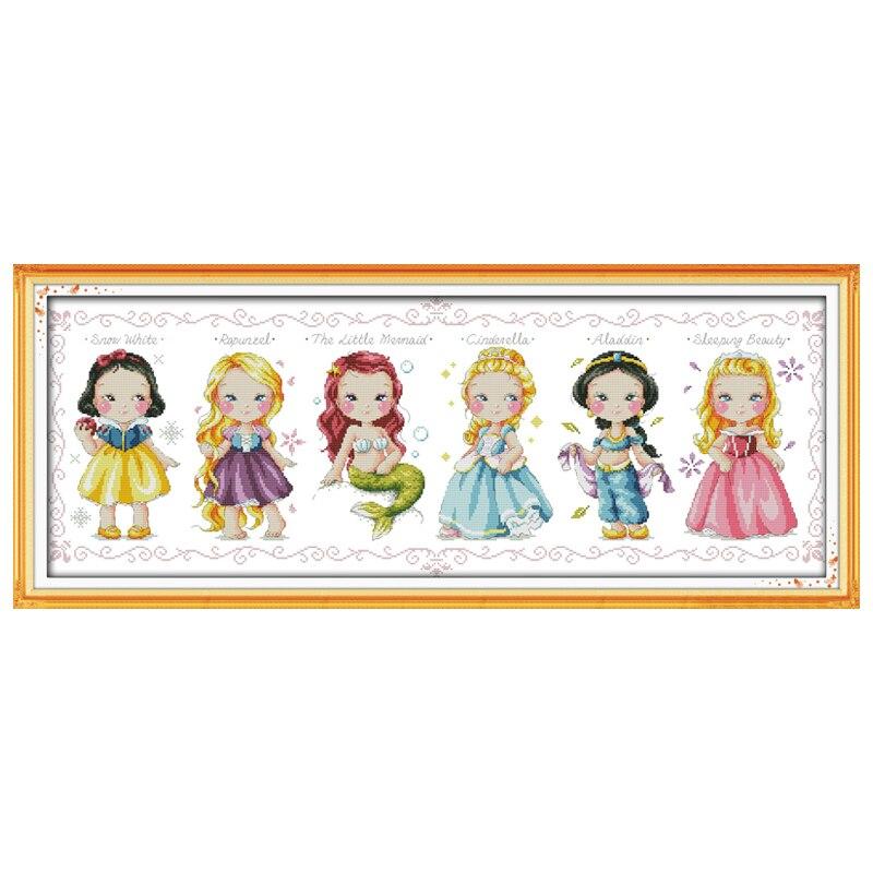 Zdarma Loď Princezna počítají Cross Stitch 11CT 14CT Křížové Stitch karikatura Cross Stitch Kit výšivka pro domácí dekor Vyšívání