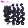 Brasileira onda do corpo do cabelo virgem 3 pacotes cabelo com gratuito médio 3 part lace closure não transformados extensão do cabelo humano