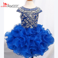 Giá rẻ Glitz Cô Gái Pageant Dresses 2016 Ritzee Bóng Gowns Royal Blue Ruffle Pha Lê Little Kids Prom Dresses Đảng đối với cô gái 10 12