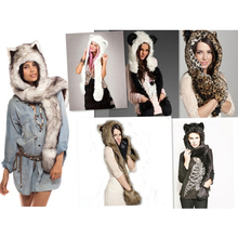 New Fashion Animal Warm Winter Faux Fur Hat Fluffy Plush Cap Hood Scarf Shawl Glove Dint free shipping