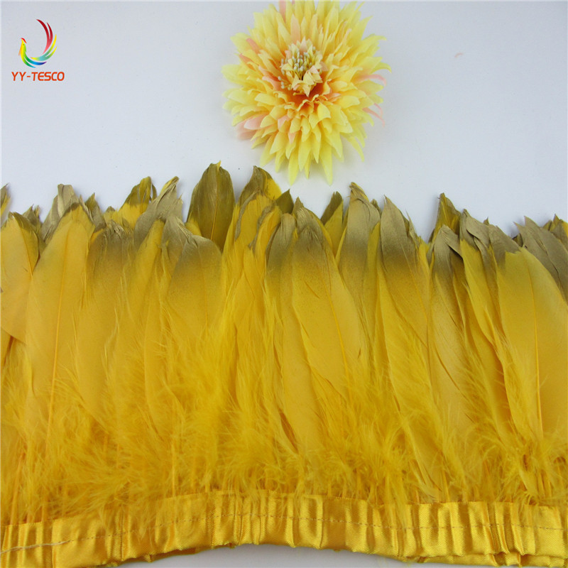 Wholesale 10 yards/lot Gold Goose Feather Trims Real Geese Feather Fringes Ribbons Dress Belt decorative Clothing decoration
