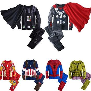 2019 Rushed Boys Spring And Autumn Avengers Marvel Superhero Iron Man Captain America Spiderman Long Sleeves Pajamas Suit 1-7y