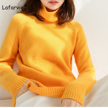 Lafarvie Winter Cashmere Sweater Women 2019 Fashion Casual Solid Turtleneck Warm Vintage Loose Long Sleeve Knit Pullover