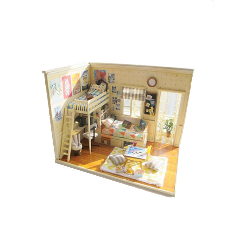 Buy wooden diy house of dormitory with Scale model furniture