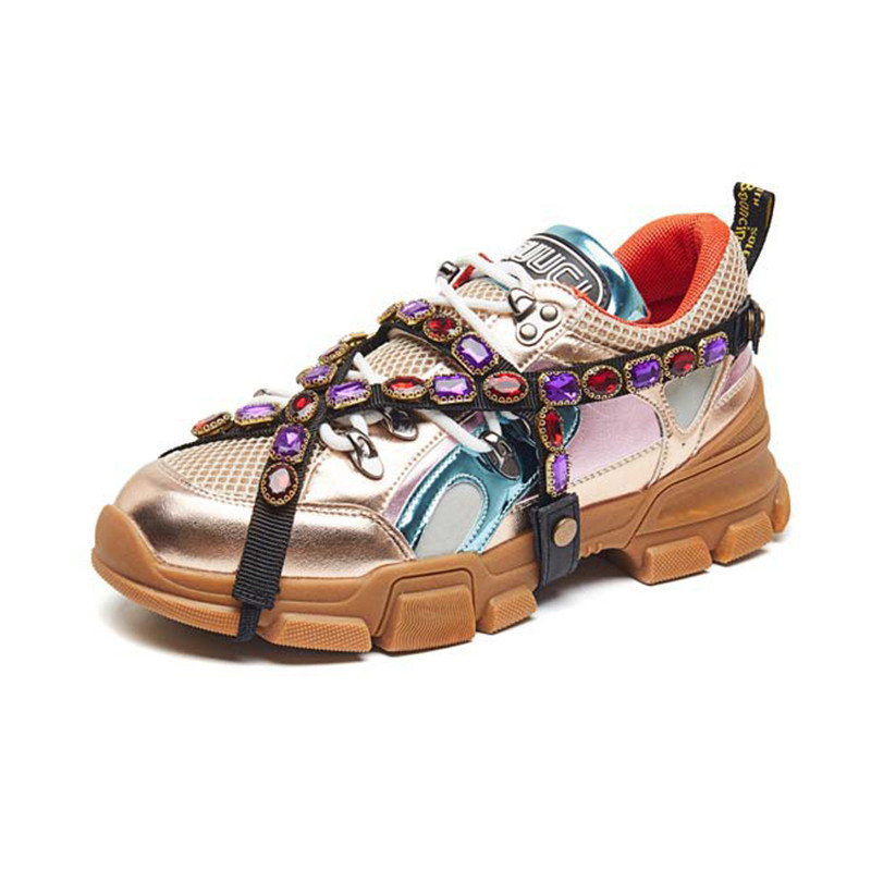 Women Sneakers 2019 Spring Autumn Genuine Leather Rhinestone Chunky Sneakers For Women Casual Shoes Woman White