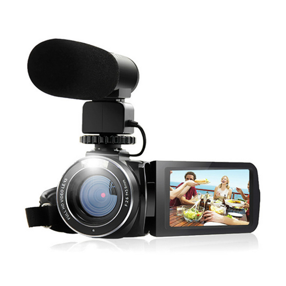 Camcorder 1080P Full HD Ordro HDV Wifi Digital Camera with External Microphone Rotate LCD Screen Handheld