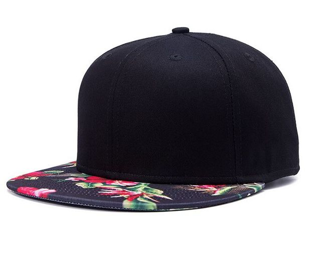 Cotton Hiphop Snapback Women Men Harajuku Baseball Caps Floral Pattern Flat  Brim Black Snapback Hat Unisex Rock Roll Hats Gorra 376359adabe
