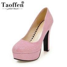 Taoffen Kualitas Tinggi Wanita Pumps Fashion Emas Sepatu Hak Tinggi Sepatu Platform SLIP ON Pernikahan Club Harian Wanita Sepatu Ukuran 32 -43