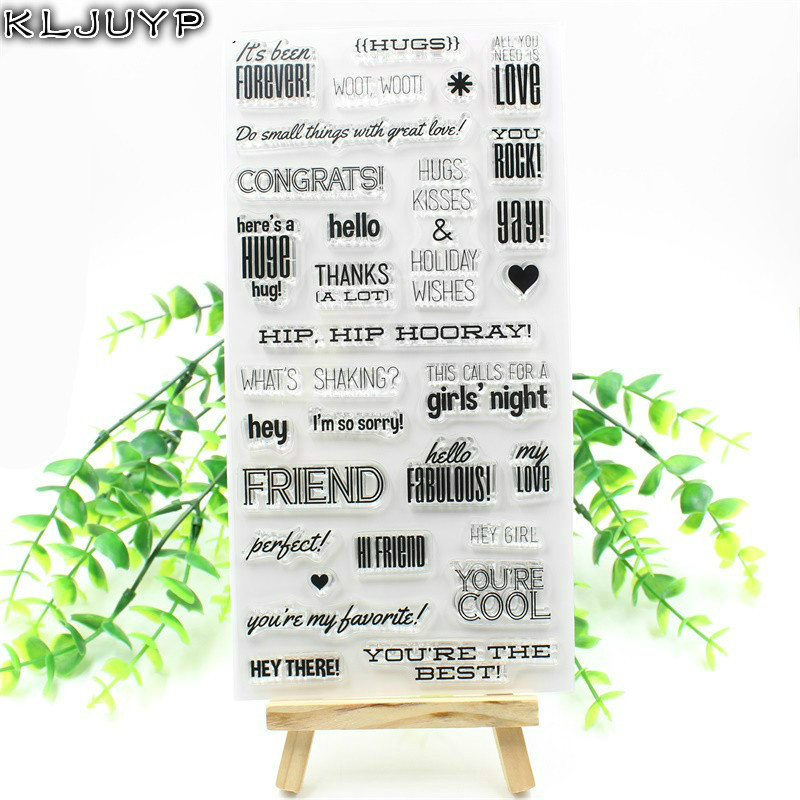 KLJUYP Hello Friend Transparent Clear Silicone Stamp/Seal for DIY scrapbooking/photo album Decorative clear stamp sheets 2 1m fishing rod reel kit telescopic spinning rods portable mini pen fish rod telescope spin fishing pole rod reel combo tackle