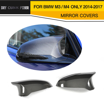 DRY Carbon Fiber Car Door Side Wing Mirror Covers For BMW F80 M3 F82 F83 M4 Only 2014-2017 Sedan Coupe Add On Style