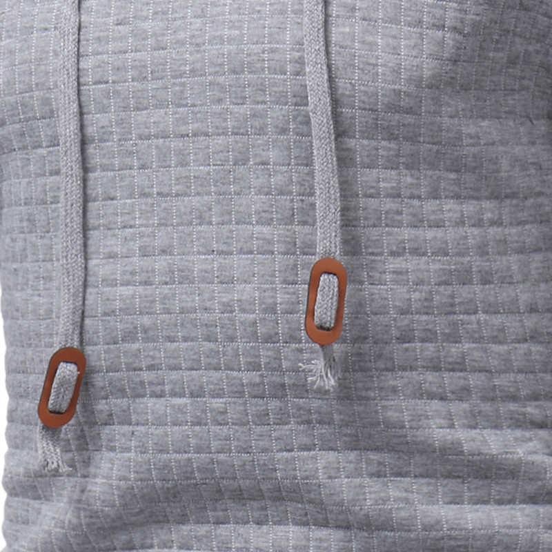 2019 клетчатые толстовки мужские с длинным рукавом одноцветные толстовки с капюшоном мужское худи Повседневная Спортивная одежда Бесплатная доставка