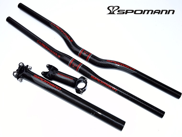 SPOMANN Hot Selling Carbon MTB Bike Handlebar+Seatpost+Stem Road Biycle Carbon Handlebar Set Bike Parts цены