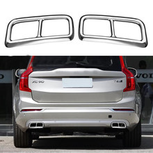 For Volvo XC90 S90 XC60 2014-2019 Car Rear Dual Exhaust Muffler End Pipe Stickers Cover Trims Accessories Stainless Steel 2PCS(China)