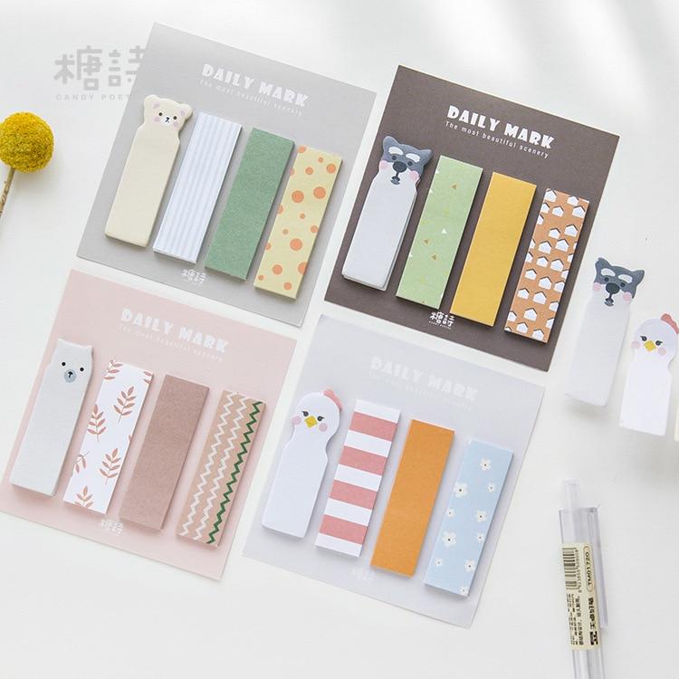 12 sets/1 lot Creative animal Memo Pad Sticky Notes Escolar Papelaria School Supply Bookmark Post it Label