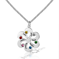 Family Jewelry Personalized 925 Sterling Silver Birthstone Flower Necklace DIY Custom Made Names Pendant Necklace For