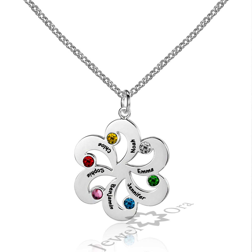 купить Family Jewelry Personalized 925 Sterling Silver Birthstone Flower Necklace DIY Custom Made Names Pendant Necklace For Women недорого