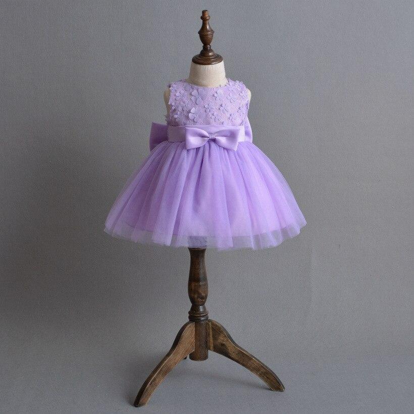 Newborn Baby Girls Dresses 2018 Autumn Sweet Sleeveless Purple Princess Wedding Party Dress Children Infant Dress Costume hsp182