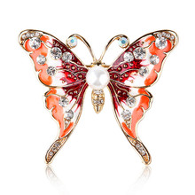 New Butterfly Brooch Fashion Cute Painted Wild Multi-function Collar Needle Insect Brooch rhinestoned butterfly brooch