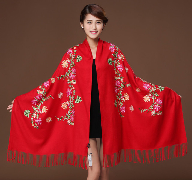 Luxury brand scarf women 2017,cashmere floral embroidery scarf,bandana,floral pashmina,wool shawl,women cape,shawls and scarves