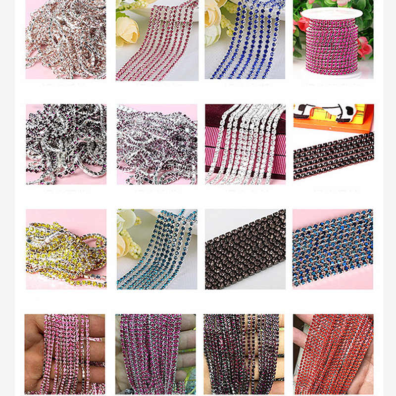 Fashion 1M/lot 23 Color Transparent Rhinestone Chain 2/2.5/2.8/3mm For DIY Craft artesanato Sewing Clothes Accessories