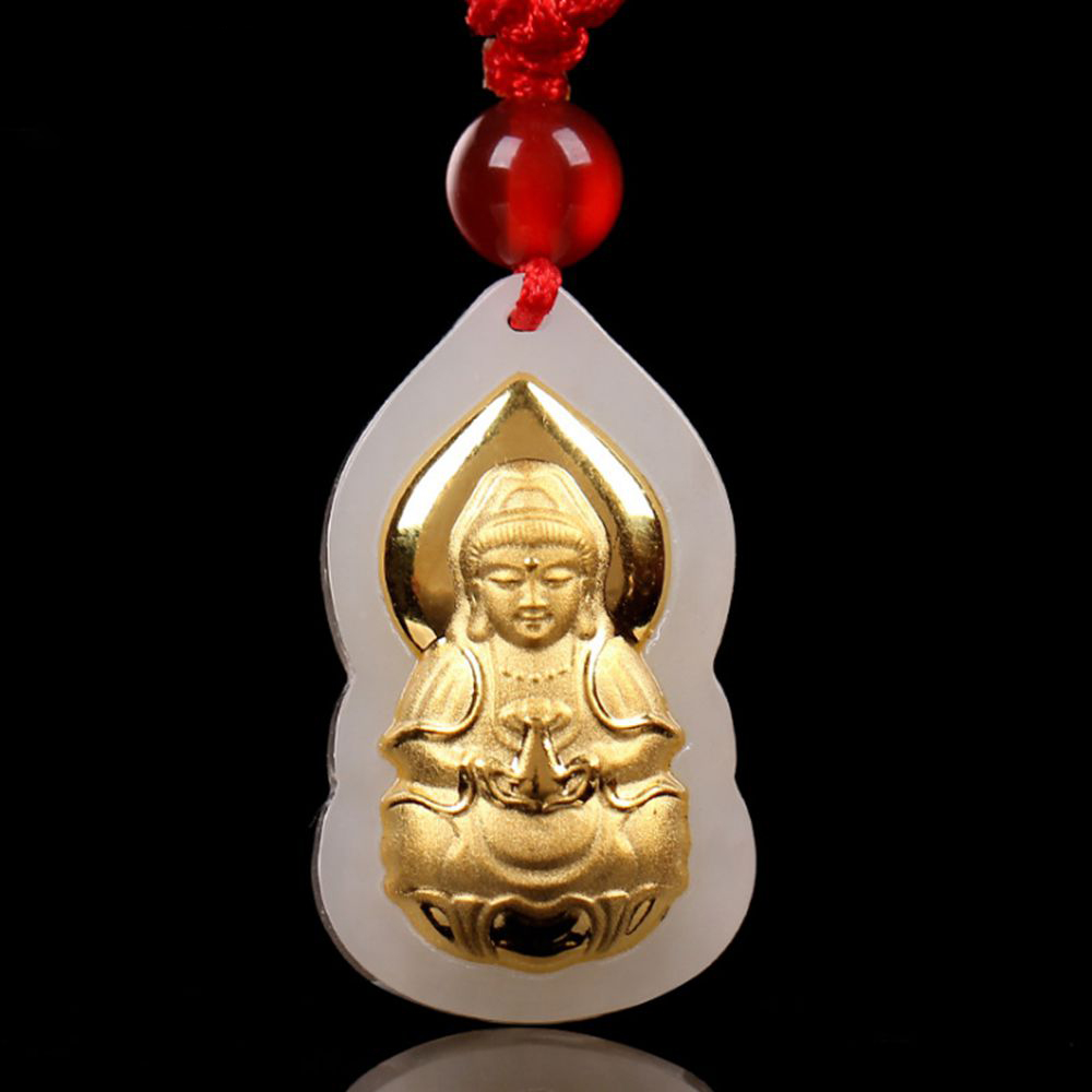 Gold Jade Amulet Guanyin Buddha Lucky Pendant Male Women Necklace Buddha Bead Curtain Scrub Buddha Pendant harbll ar pendant accessories gold plated double gourd glass beads amulet for safe driving lucky blessing car pendant
