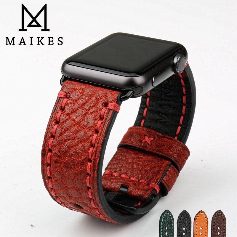 MAIKES Mode Véritable Bracelet En Cuir Bracelet Rouge Bonne Qualité Montre Accessoires Montre Bande Pour Apple Montre 42mm 38mm iWatch