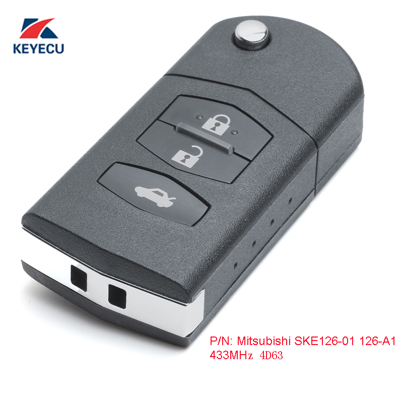 KEYECU Replacement Upgraded Flip Remote Car Key Fob 3 Button for Mazda 2 3 5 6 MX-5 CX-7 2005-2015 P/N: Mitsubishi SKE126-01