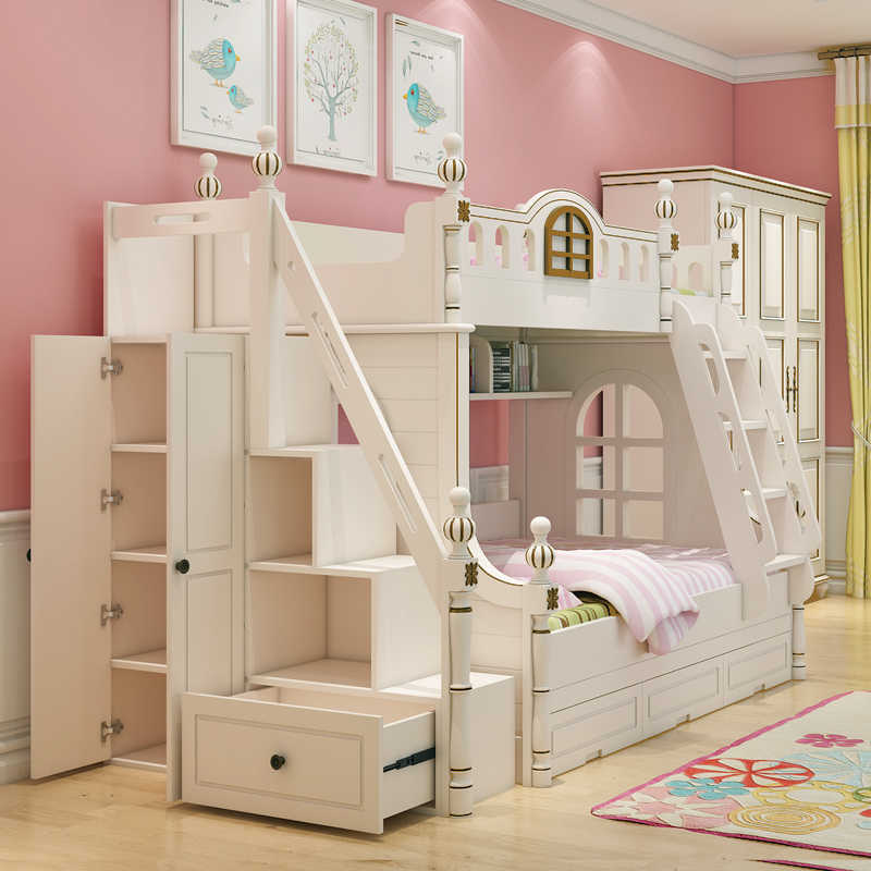 American design white children's bed 1.2 m bed bunk bed girl children's furniture bed