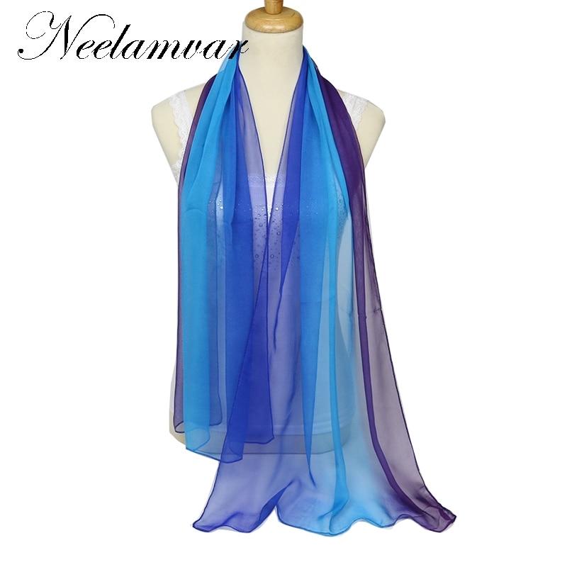 Neelamvar divat sál 2019 Női Ősz Téli meleg puha 100% Selyem érzés Blend Ombre Oblong georgette Sál tervező kendő