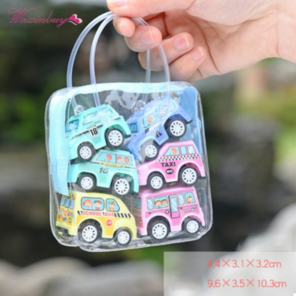 New Funny Classic Boy Girl Truck Vehicle Kids Child Toy Mini Small Pull Back Car toys plastic colorful car toy 6pcs/set image