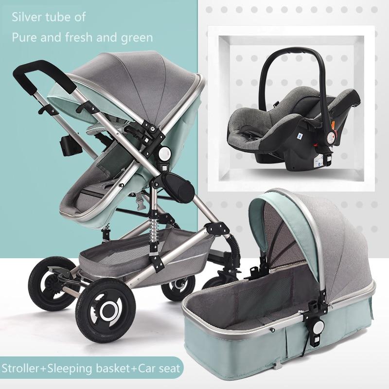 Poussette bébé 3 en 1 landau avec siège auto système de voyage poussette bébé avec siège auto nouveau-né bébé confort kinderwagen 0 ~ 36 mois