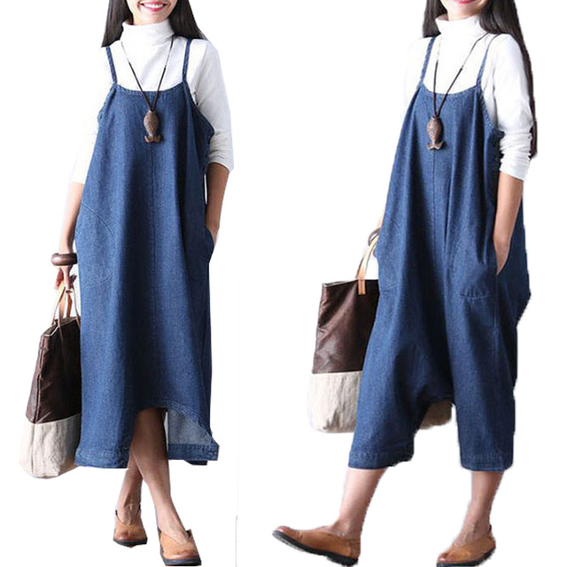 Summer Spring Plus Size Denim Dungarees Combinaison Femme Elegant Jumpsuits  And Rompers Long Coveralls Bodycon 56 b0e94dc41427