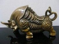 Sammeln hause Feng Shui dekoration Kuh skulptur chinese messing Bull handwerk-in Statuen & Skulpturen aus Heim und Garten bei