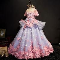 New Luxury Flower Girls Dress Princess Dress Lace 3D Flowers Applique Puffy Tulle Kids Birthday Dress Modis Vestidos Y1530